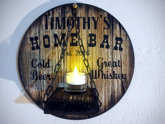 Custom Candle Sconce inspired by aged wine and whiskey barrel tops | Rustic Decor | Personalized Gift | Handmade Wood Wall Candle holder
