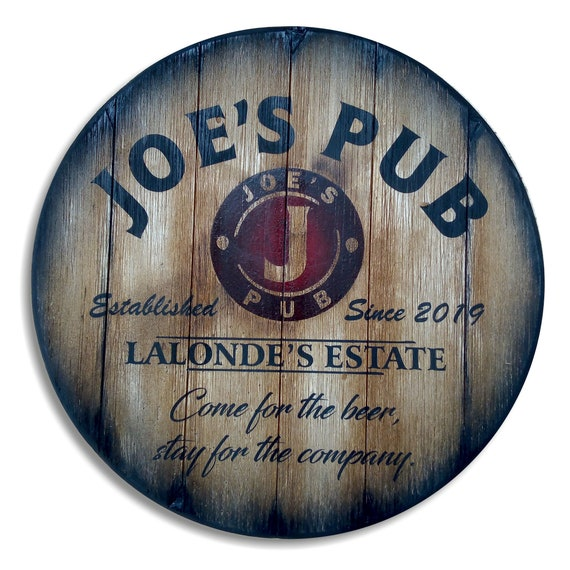 "Personalized Table Top Inspired by Old Whiskey Barrels, Custom Gifts, Rustic Living Room Home Bar Man Cave Furniture, Size 24""/30""/36""/40''"