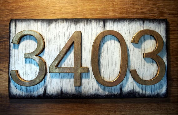 House Address Signs | Rustic white plaque and Rubbed brass-colored numbers, Made of distressed Wood | Custom Address Plaque | House numbers