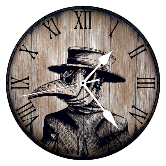 Steampunk Plague Doctor Rustic Wall Clock, Handmade on Aged Wood, Faded Oak with White Metal Clock Hands