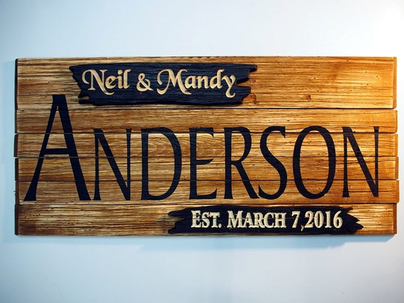 Personalized Family Name Rustic Sign | Wall Art Rustic Home Decor | Vintage Wedding Gifts | Custom Carved Wooden Signs | Anniversary Gift