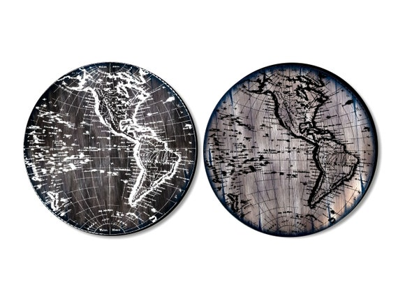 Old World Map Antique Look Table Top, Handpainted on Rustic Aged Wood Inspired by Old Wine Barrels & Vintage Maps, Living Room Bar Table