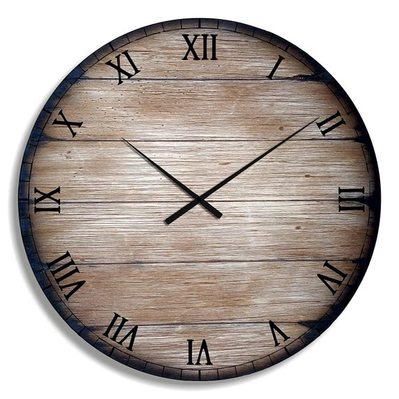 Farmhouse Wood Wall Clock Inspired by Aged Wine & Whiskey Barrels, 7 Sizes (from 11 to 40 Inches), Distressed Oak Home Decor