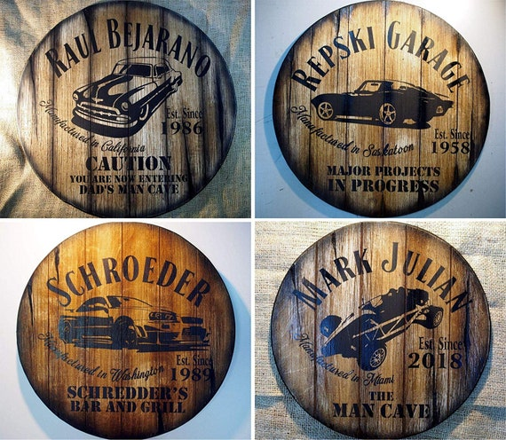 Custom sign with your favorite Car Model painted on | Rustic wall decor inspired by whiskey barrel tops | Personalized Gifts for men