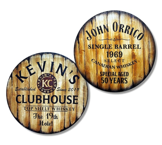 Marvelous Personalized Bar Stools Tops Round Wood Seats Set Of 2 Custom Artwork Inspired By Whiskey Wine Barrels Man Cave Home Bar Decoration Ocoug Best Dining Table And Chair Ideas Images Ocougorg