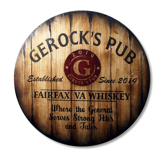 Brilliant Personalized Bar Stools Tops Round Wood Seats Set Of 2 Custom Artwork Inspired By Whiskey Wine Barrels Man Cave Home Bar Decoration Ocoug Best Dining Table And Chair Ideas Images Ocougorg