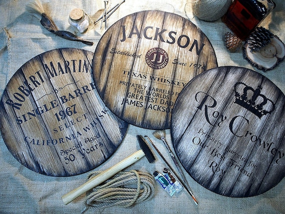 Personalized barrel head sign inspired by whiskey barrels | Personalized Gifts for men | Rustic wall decor | Home Bar, Man Cave decoration