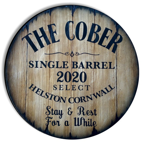 Personalized Table Top Inspired by Bourbon Whiskey Barrels, Home Bar Living Room Wood Furniture & Decor, Custom Gifts, Size 24/30/36/40 Inch