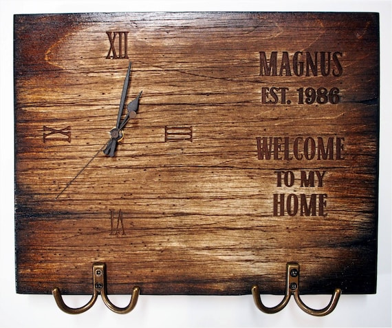 Personalized Coat rack, Key holder, Dog Leash Holder, Wall Clock | Handmade distressed wood work | Rustic decor