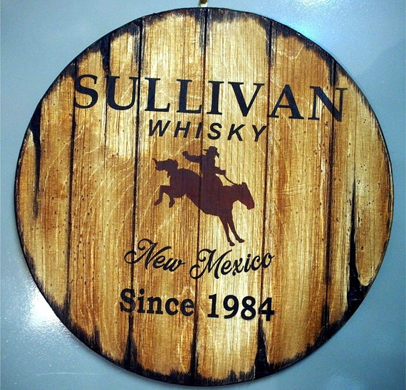 Personalized Gift | Wall decor inspired by old whiskey and beer barrels | Painted Rodeo Cowboy artwork on aged wood sign | Man Cave, Bar