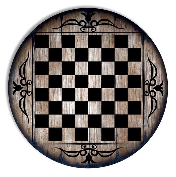 Antique Look Chess Table Top, Handmade Artwork on Rustic Aged Wood Inspired by Old Wine Barrels, Living Room Bar Gaming Table Furniture