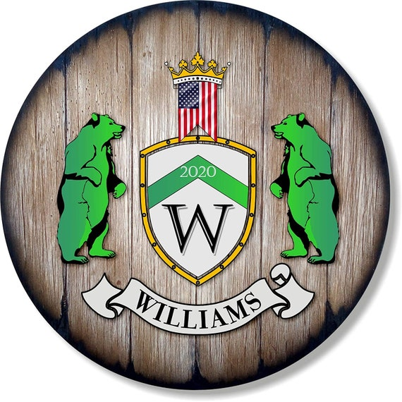 Personalized Coat of Arms, Custom Family Crest Hand-Painted on Rustic Wood Rounded Shield.