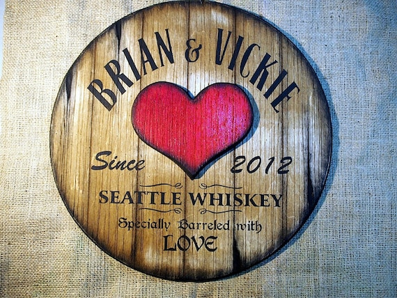 Custom Aged Barrel Sign with an Embossed Heart, Personalized Gifts for Couple, Anniversary Gift for Husband and Wife, Rustic Decor