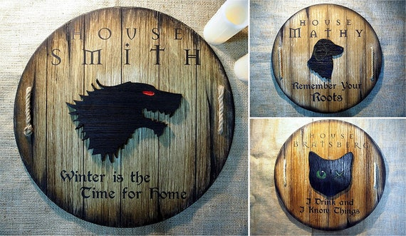 Personalized decor sign inspired by fantasy novels | Wooden aged shield with your chosen embossed sigil, name and words