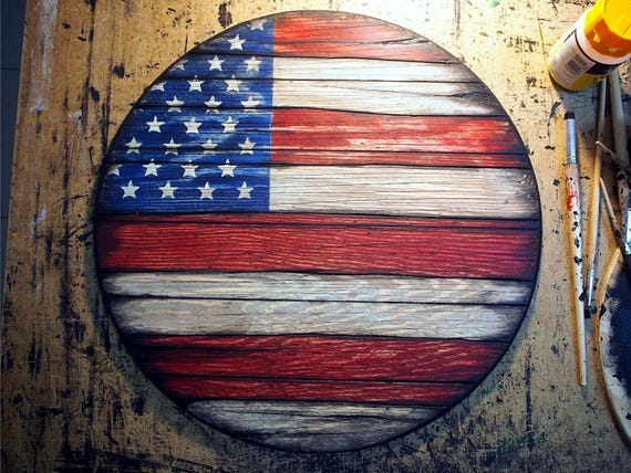 Wooden American Flag decor sign | Rustic decor inspired by antique whiskey barrel tops | American Flag Wall Art | Personalized gift