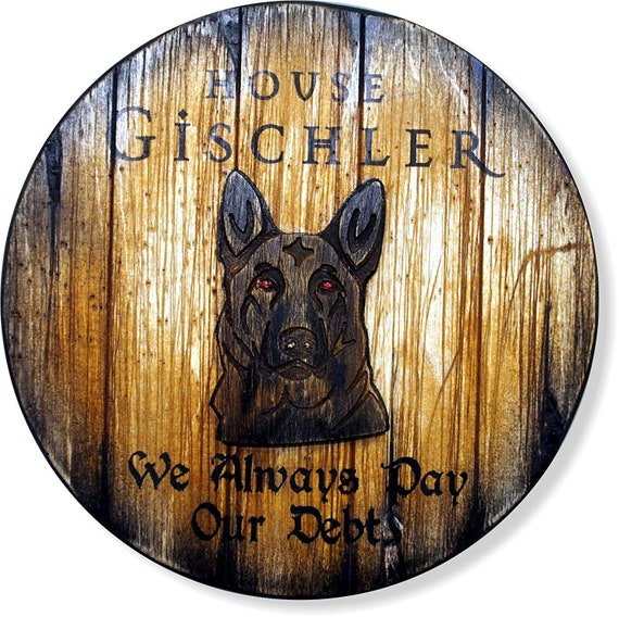 Custom Dog sigil decor sign | Wooden wall art with your name, saying and embossed sigil | Personalized gift | Dog lover, dog memorial