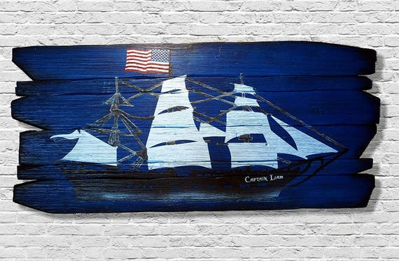 Personalized Ship Sailboat painting on distressed wood planks | Custom gift, vintage nautical decor | Hand-painted sailboat art