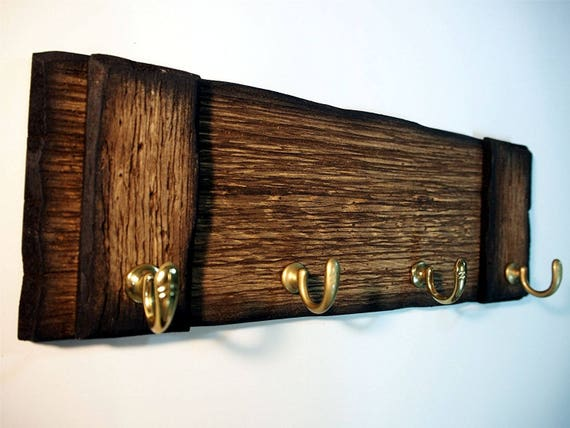 Rustic Wall Mounted Coat rack, Key holder, Dog Leash Holder | Handmade coat hanger made of worn out wood | Personalized gift