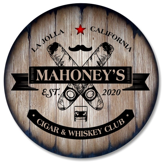 Personalized Cigar Themed Sign Inspired by Aged Whiskey Barrels, Custom Gifts for Men, Home Decor for Man Cave, Bar, Living Room