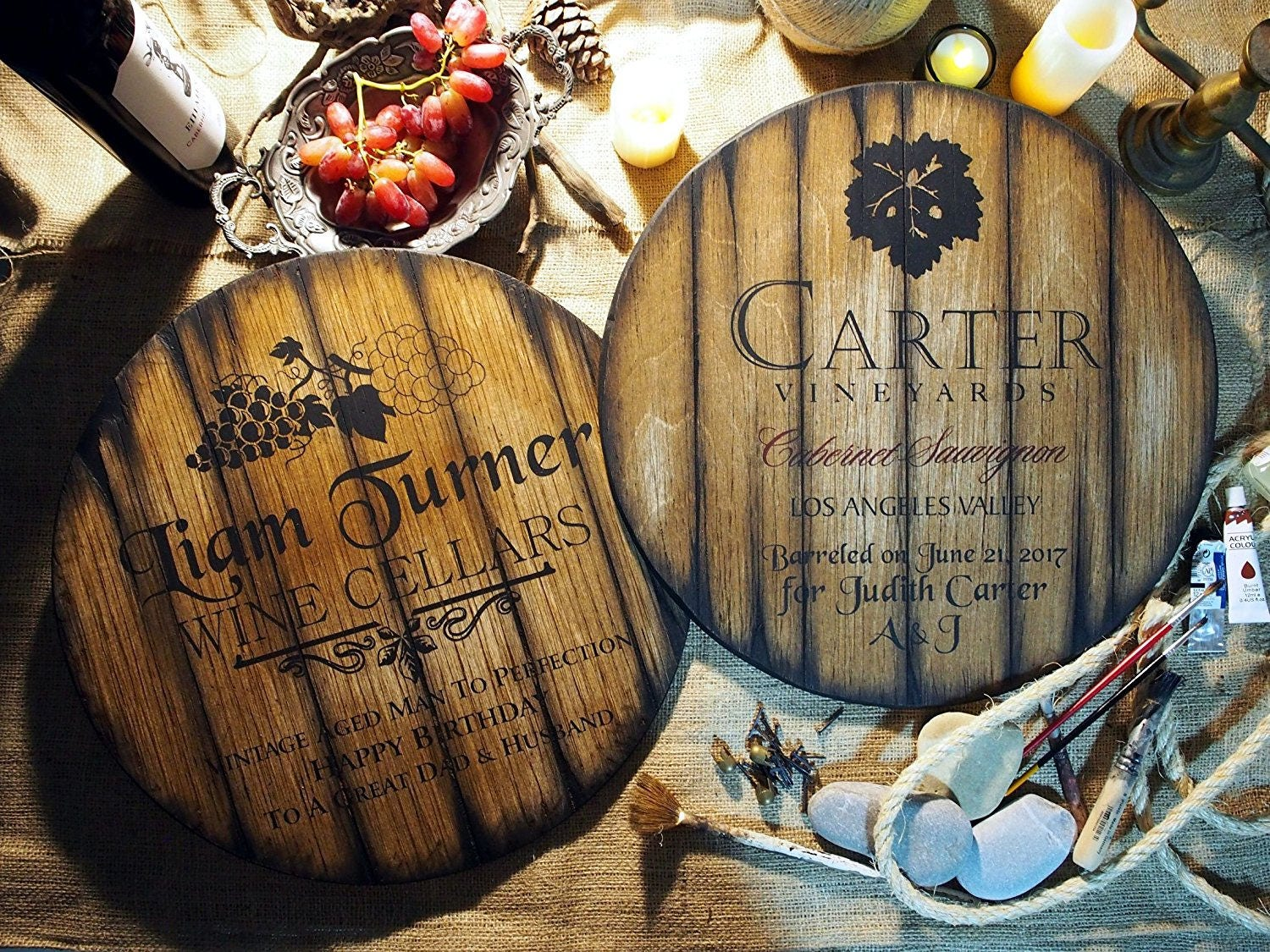 Personalized Decor Sign Inspired By Wine Barrel Tops Rustic Home Decor Custom Gift Wine Wall Art Hand Painted Theme On Worn Out Wood