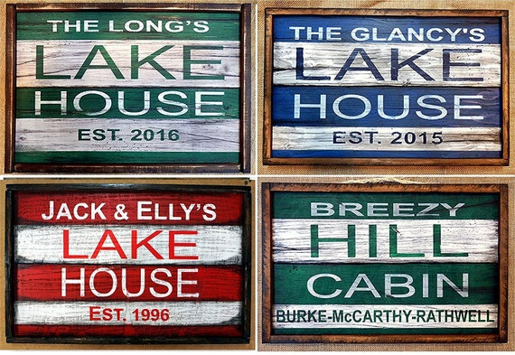 "Personalized LAKE HOUSE decor | Cabin decor | Rustic wooden signs | Personalized gifts | Handcrafted, Size: 20""x13"""