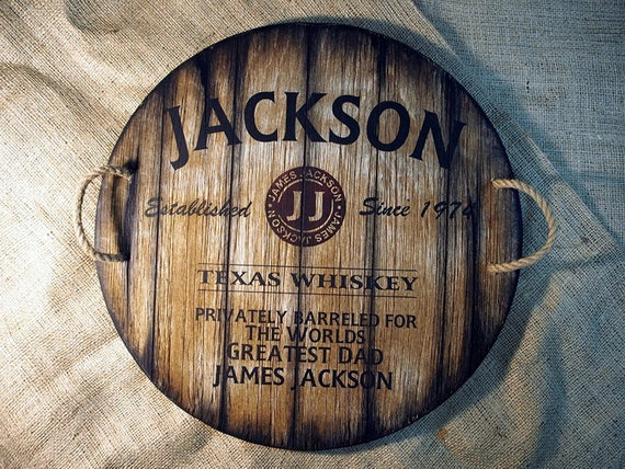 Rustic Wood Personalized Serving Tray - Custom serving dish inspired by whiskey barrel tops | Personalized Gifts | Rustic tableware