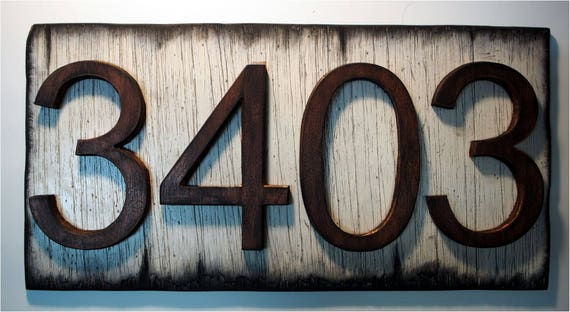 Custom Address Plaque | Rustic House Address Signs | Rubbed bronze-colored numbers on Antique white plaque | House numbers