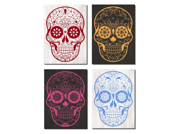 Skull Decor Wall Art, Four Panels Set, Custom Made with the Colors & Size You Want,Modern Art Print on Wood, Boho Vintage Home Decoration