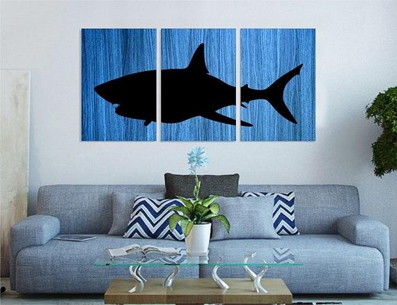 "Ocean Deep Blue Great White Shark | Handmade Wall Art Painting on Wood | Wall Decor | Total Size: 30""x 60"" - 3 panels 30""x20"" each"