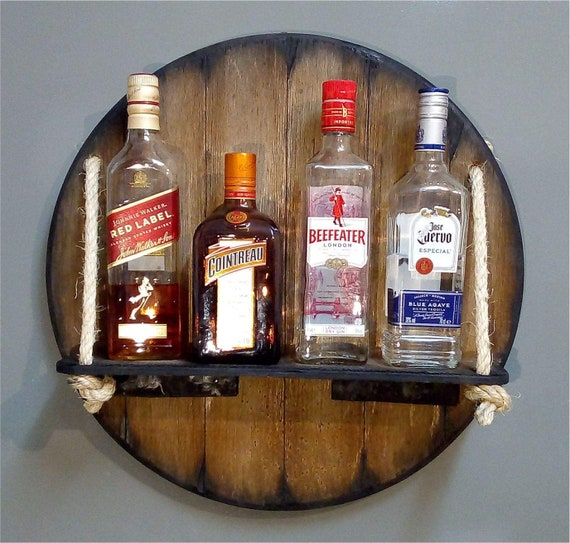 Personalized Wall Mounted Wood Wine Rack or Liquor Bottle Storage Holder Inspired by Old Whiskey & Wine Barrels, Custom Gifts