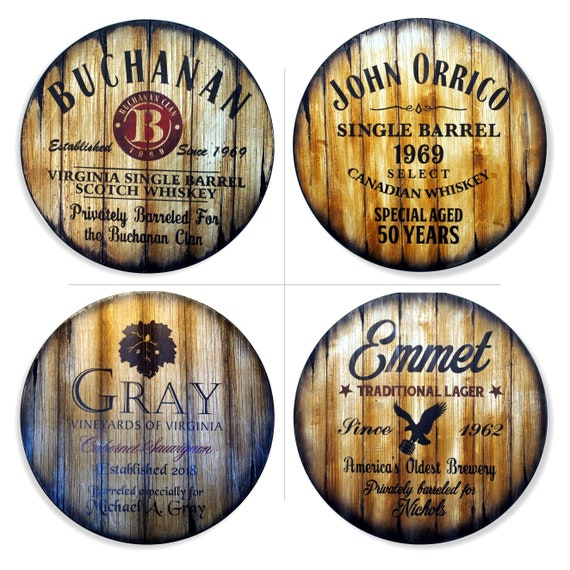 """Personalized Round Table Top, 24""""/30''/36''/40"""" D, Inspired by aged wine & whiskey barrels, Patio Furniture, Bar Table Tops"""