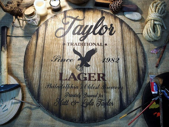 Personalized decor sign inspired by old beer barrels | Personalized Gift | Custom Gifts for men | Rustic Home Bar, Man Cave decoration