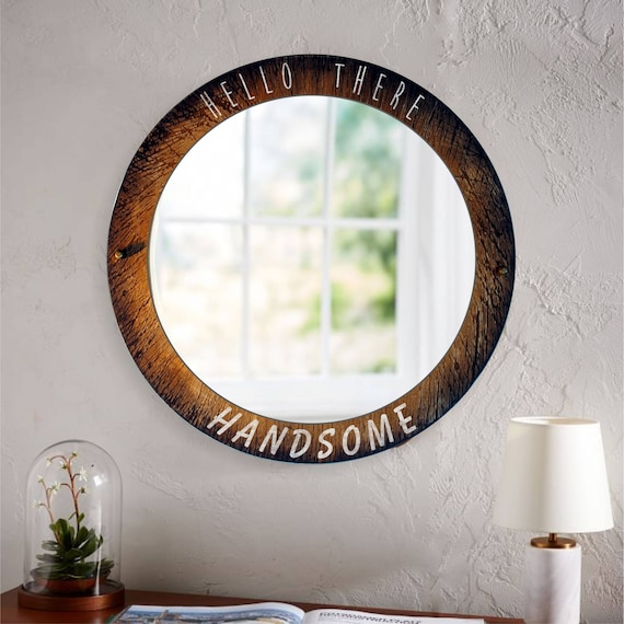 Custom Decorative Wall Mirror | Your personalized message or quote, painted on a distressed wood Frame with Bronze decorative Wood Nails