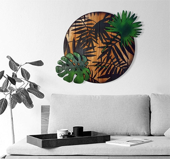 Tropical Decor sign inspired by old Rum barrel tops | Indoor/Outdoor wall decor | Made of wood, place the Palm Leaves the way you want
