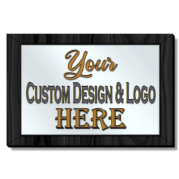 Create Your Own Personalized Mirror, Framed Acrylic Mirror with Your Custom Design or Logo, Different Sizes & Frame Colors