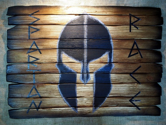 Spartan Helmet wall art | Molon Labe | Hand-painted theme on specially aged wood boards | Personalized with your unique message painted on