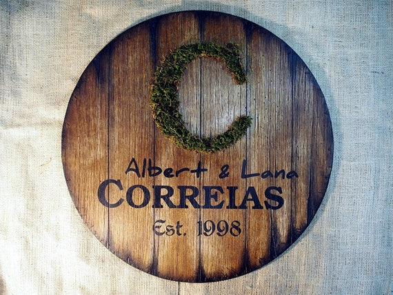 Personalized Family Name Sign inspired by vintage, wine barrel tops | Rustic Decor | Distressed Wood, Moss Monogram, Handmade work