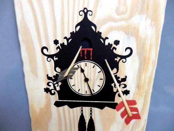 Cuckoo Murder Case wall clock | Wooden wall clock of a unique concept | Handmade wood clock | Halloween clock