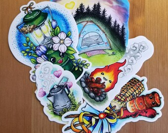 Happy Camper vinyl sticker set