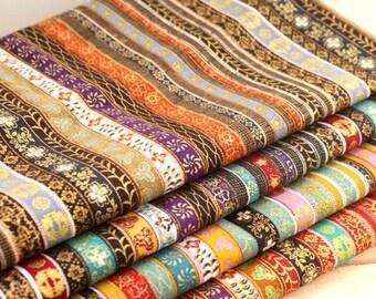Stripy Cotton Linen Fabric BOHO Bohemian fabric Upholstery fabric Bag Purse Cushion Fabric- 1/2 Yard  - 1/2 yard