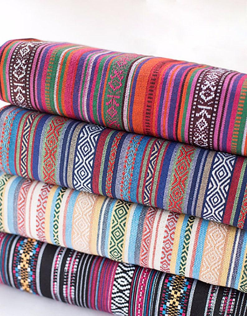 Colorful Stripy Fabric Boho Bohemian Fabric Upholstery Fabric Etsy