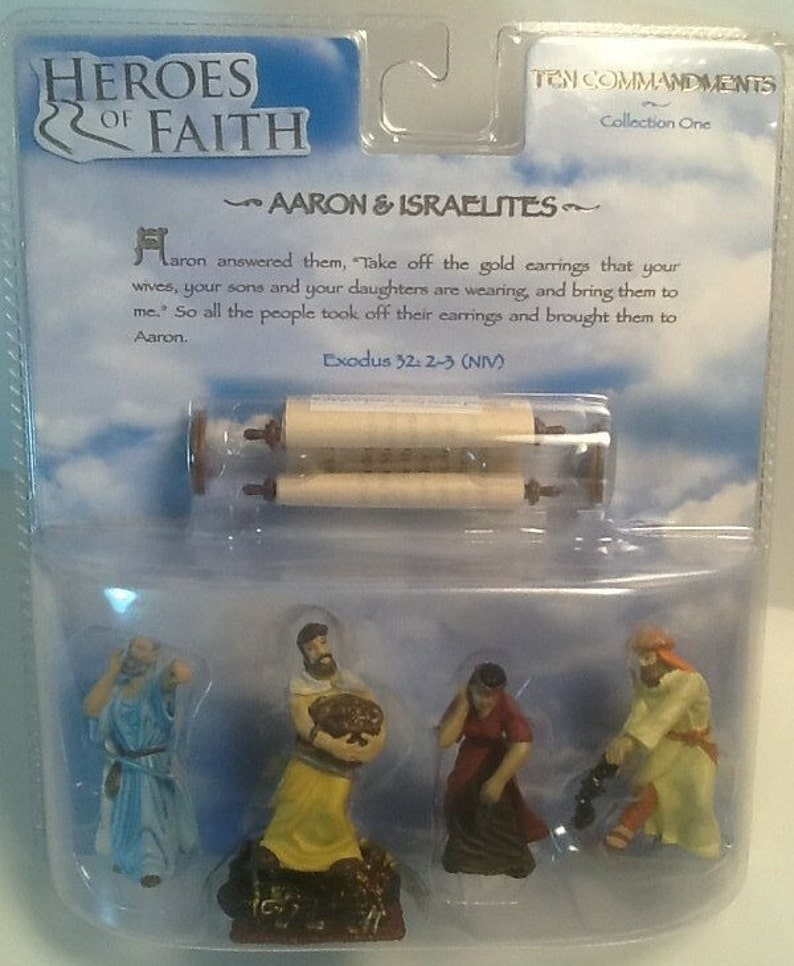 FACTORY SEALED Blister Pack Heroes Of Faith Ten Commandments Collection One Aaron /& Israelites