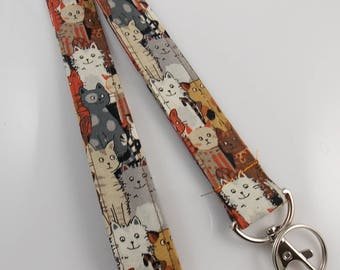 Playful Black Cats Handmade 1 Wide ID Lanyard with a Lobster Claw Clasp