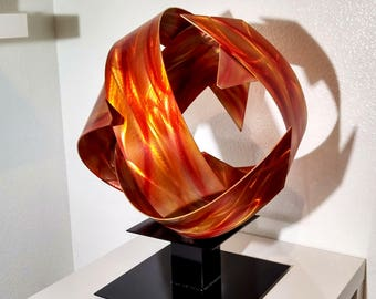 "Modern Abstract Metal Outdoor Fire Sphere Sculpture Copper Amber ""Synergy"" by Dustin Miller"