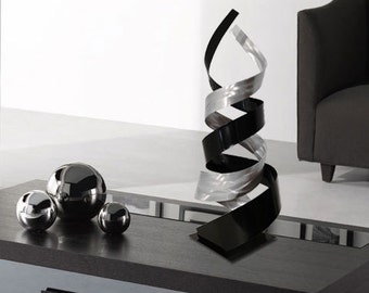 "Modern Abstract Metal Art Decor Freestanding Indoor Outdoor Table Sculpture - ""Enigma"" by Dustin Miller"