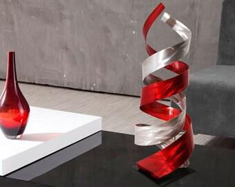 "Abstract Metal Art Decor Freestanding Indoor Outdoor Table Sculpture - Red ""Enigma"" by Dustin Miller"