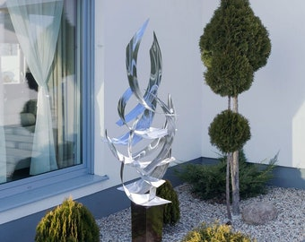 """Contemporary Abstract Metal Indoor Outdoor Sculpture Large Silver """"Tempest"""" by Dustin Miller"""