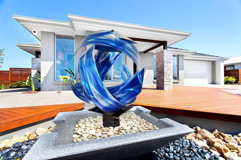 Contemporary Modern Abstract Metal Indoor Outdoor Orb image 0