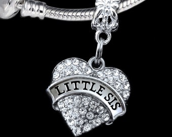 Little sis charm fits european bracelet and necklace Little sis gift Little sis jewelry