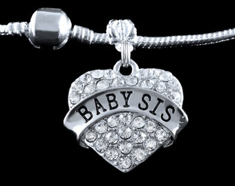 Baby sis charm  fits european style bracelet  Baby sis gift  Baby sis Jewelry  Little sis gift little sis jewelry
